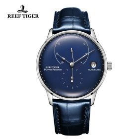 Seattle Navy II Blue Dial Stainless Steel Leather Strap Automatic Watch