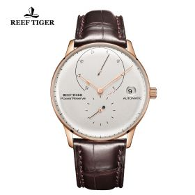 Seattle Navy II White Dial Rose Gold Leather Strap Automatic Watch