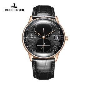 Seattle Navy Black Dial Rose Gold Black Leather Automatic Watch