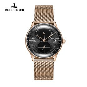 Seattle Navy Black Dial Rose Gold Rose Gold Bracelet Automatic Watch