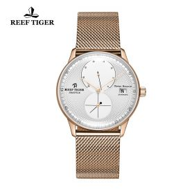Seattle Navy White Dial Rose Gold Rose Gold Bracelet Automatic Watch