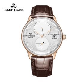 Seattle Navy White Dial Rose Gold Brown Leather Automatic Watch
