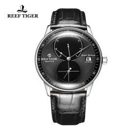 Seattle Navy Black Dial Steel Black Leather Automatic Watch