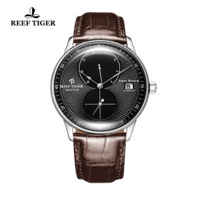 Seattle Navy Black Dial Steel Brown Leather Automatic Watch