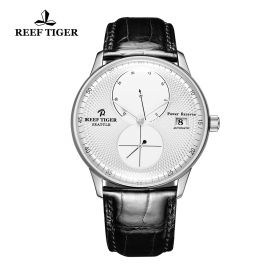 Seattle Navy White Dial Steel Black Leather Automatic Watch