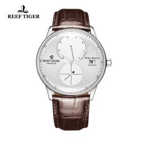 Seattle Navy White Dial Steel Brown Leather Automatic Watch