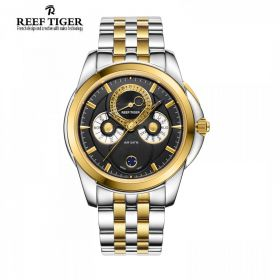 Classic Time-Matic  Black Dial Two Tone Case Mens Multifunction Watch