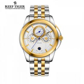 Classic Time-Matic White Dial Two Tone Case Mens Multifunction Watch