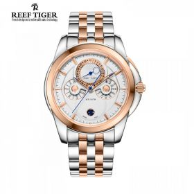 Classic  Time-Matic White Dial Two Tone Mens Multifunction Watch