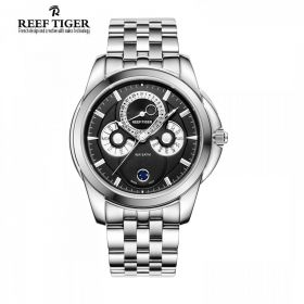Classic Time-Matic Black Dial Steel Mens Multifunction Watch