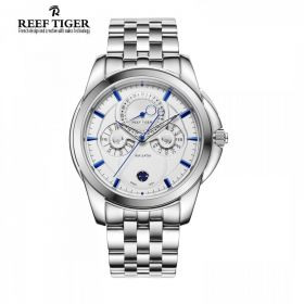 Classic Time-Matic   White Dial Steel Mens Multifunction Watch