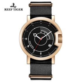 1980S Limited Edition Rose Gold Black Dial Arabic Numeral Markers Watch