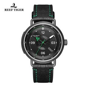 Limited Edition Discover PVD Black Leather Strap Dial Arabic Numeral Markers Watch