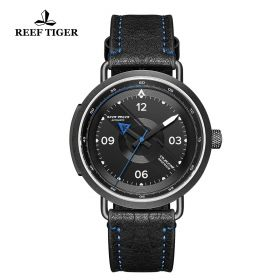 Limited Edition Discover PVD Black Leather Strap Blue Pointer Markers Arabic Numeral Markers Watch