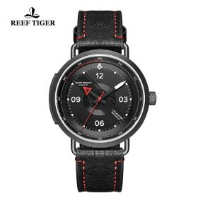 Limited Edition Discover PVD Black Leather Strap Red Pointer Markers Arabic Numeral Markers Watch