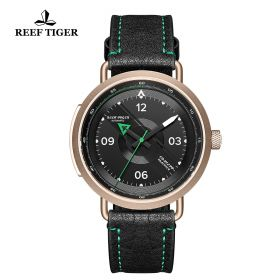 Limited Edition Discover Rose Gold Black Leather Strap Green Pointer Markers Arabic Numeral Markers Watch