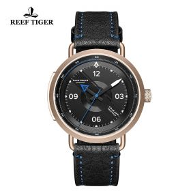 Limited Edition Discover Rose Gold Black Leather Strap Blue Pointer Markers Arabic Numeral Markers Watch