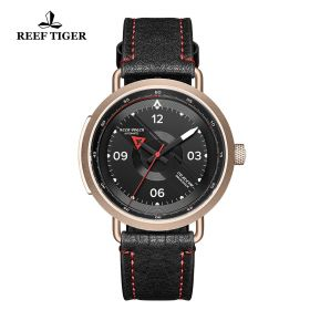Limited Edition Discover Rose Gold Black Leather Strap Red Pointer Markers Arabic Numeral Markers Watch
