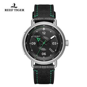 Limited Edition Discover Steel Black Leather Strap Green Pointer Markers Arabic Numeral Markers Watch