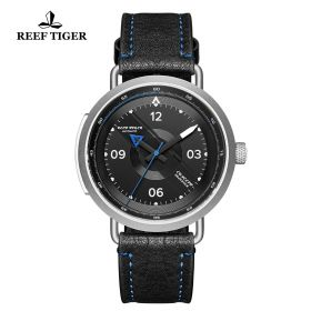 Limited Edition Discover Steel Black Leather Strap Blue Pointer Markers Arabic Numeral Markers Watch