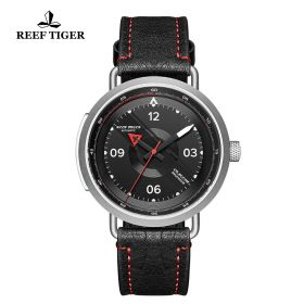 Limited Edition Discover Steel Black Leather Strap Red Pointer Markers Arabic Numeral Markers Watch