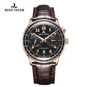 Respect Limited Edition Black Dial Rose Gold Case Leather Strap Automatic Watch