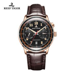 Respect Limited Edition Rose Gold Case Black Dial Leather Strap Automatic Watch