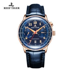 Respect Limited Edition Bule Dial Rose Gold Case Leather Strap Automatic Watch