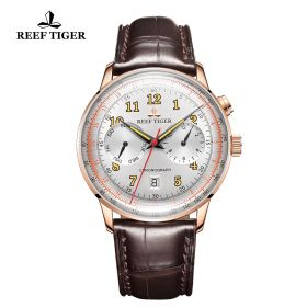 Respect Limited Edition White Dial Rose Gold Case Leather Strap Automatic Watch