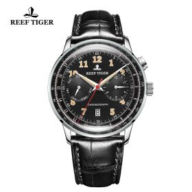 Respect Limited Edition Black Dial Leather Strap Automatic Watch