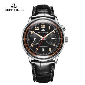 Respect Limited Edition Automatic Black Dial Leather Strap Watch