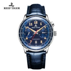 Respect Limited Edition Bule Dial Leather Strap Automatic Watch